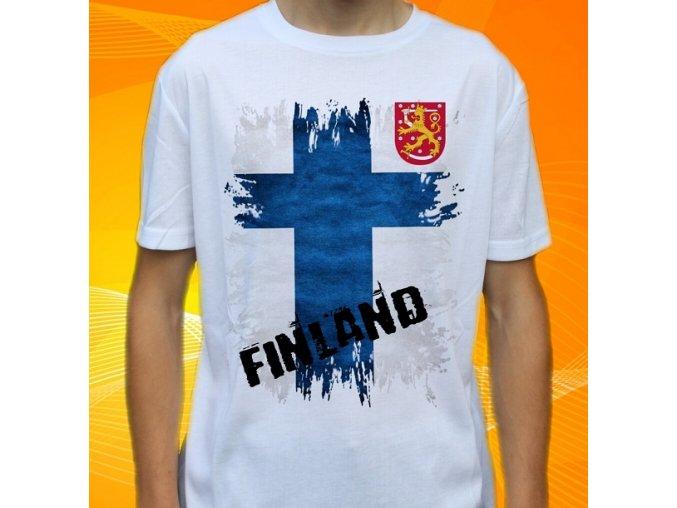 tričko, dětské, pánské, potisk, vlajka, finsko