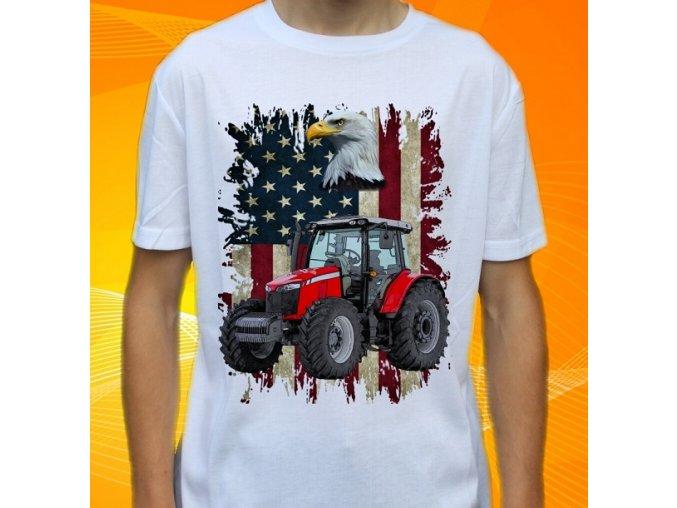 tričko, dětské, pánské, potisk. traktor, massey ferguson
