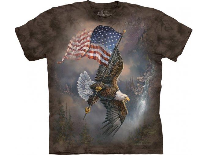 tričko, dětské, orel, americká vlajka, mountain, potisk