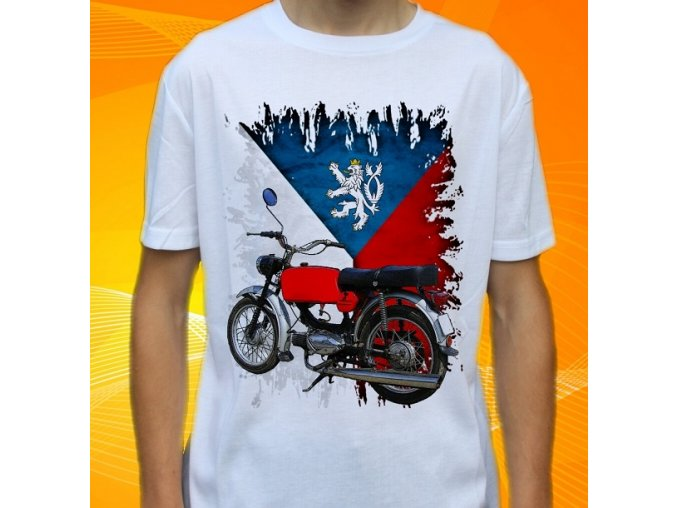 Dětské a pánské tričko s motorkou Jawa 50 Mustang