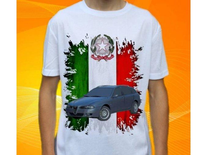 Dětské a pánské tričko s autem Alfa Romeo 156 Sportwagon