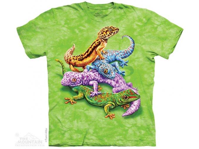 Dětské bavlněné tričko s batikovaným potiskem gekonů
