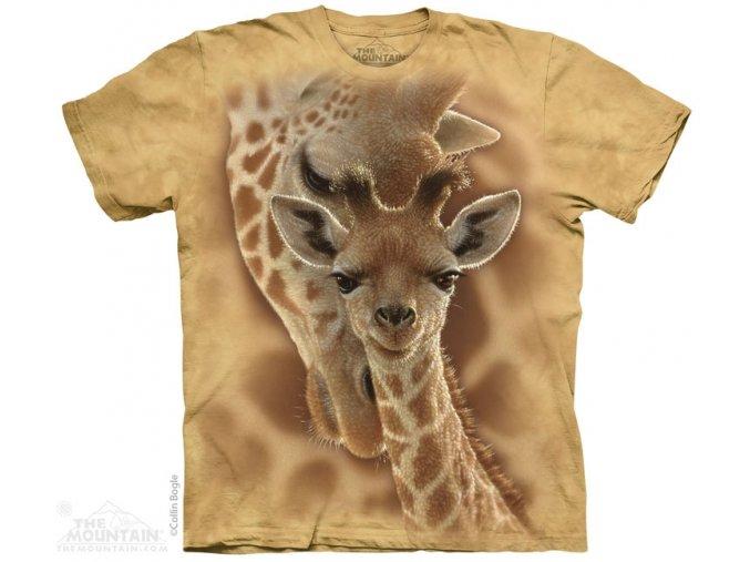 tričko, žirafa, batikované, potisk, mountain, dětské