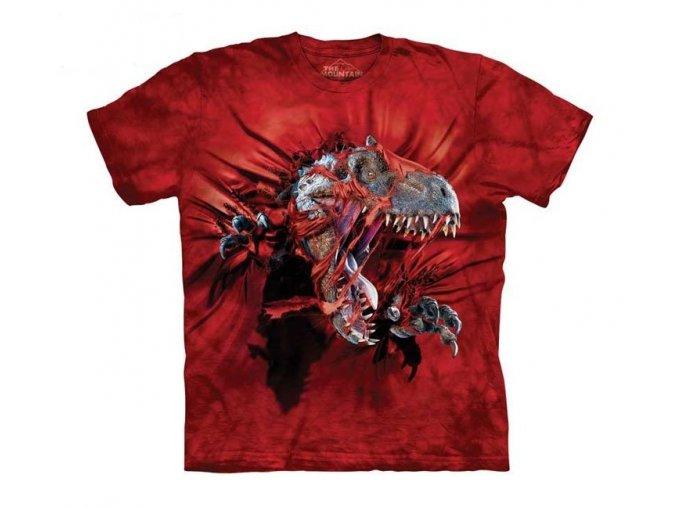 dětské tričko-bavlněné-batikované-potisk-trex-trhající tričko