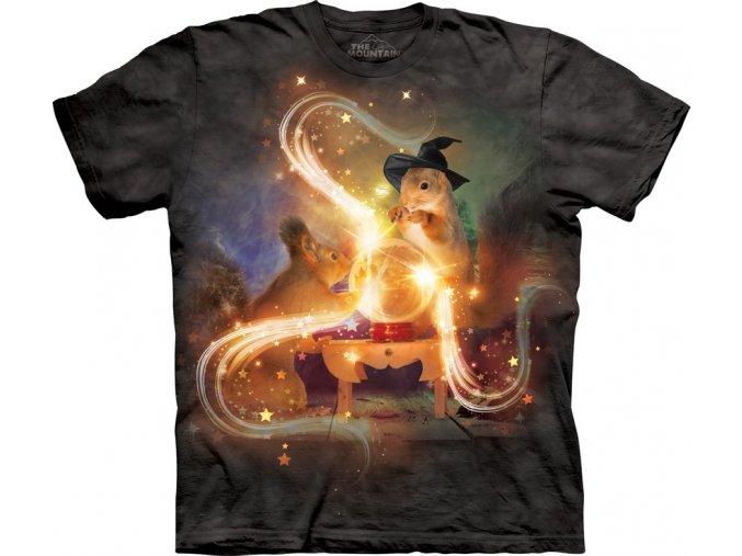 dětské tričko-bavlněné-batikované-potisk-veverka-čarodějnice