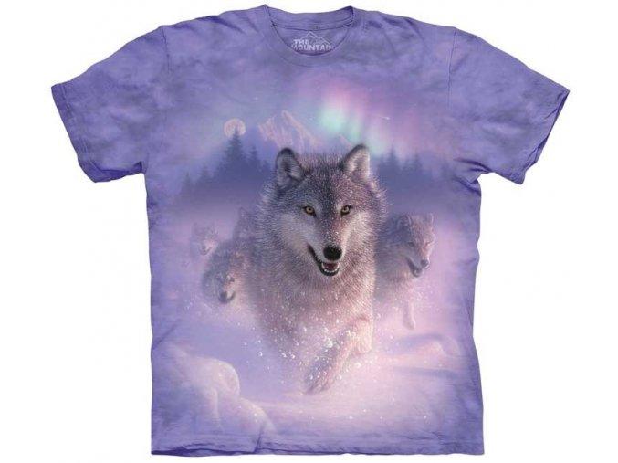 tričko, vlk, polární záře, potisk, mountain, dětské