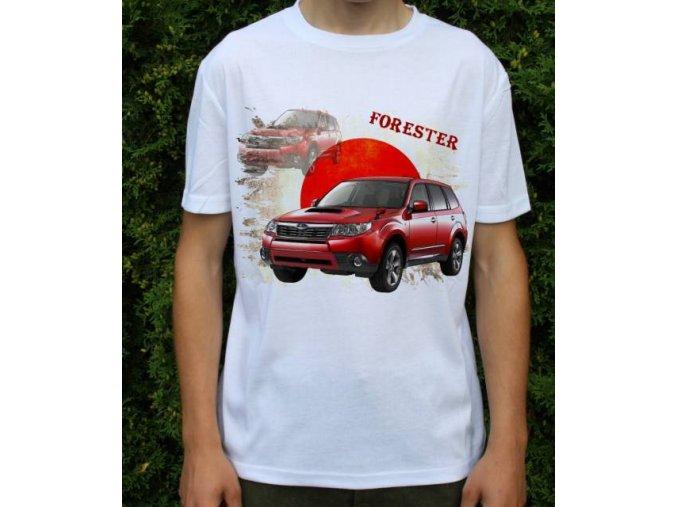 tričko s autem Subaru Forester červená