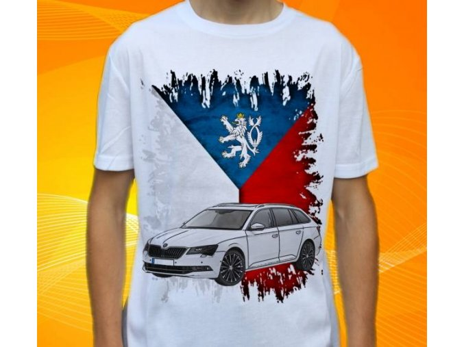 Dětské a pánské tričko s autem Škoda Superb Combi