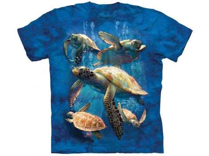 tričko, mořské želvičky, batikované, potisk, mountain, dětské