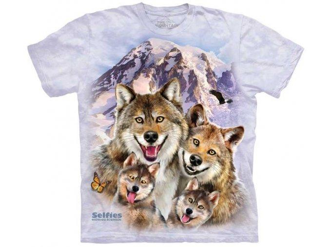 dětské tričko-vtipné-selfie vlků-potisk-mountain-bavlněné