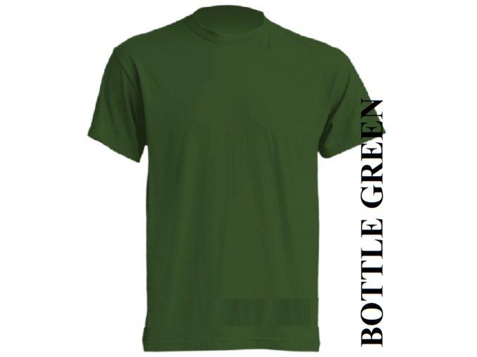dětské, tričko, jednobarevné, bavlněné, lahvově zelené