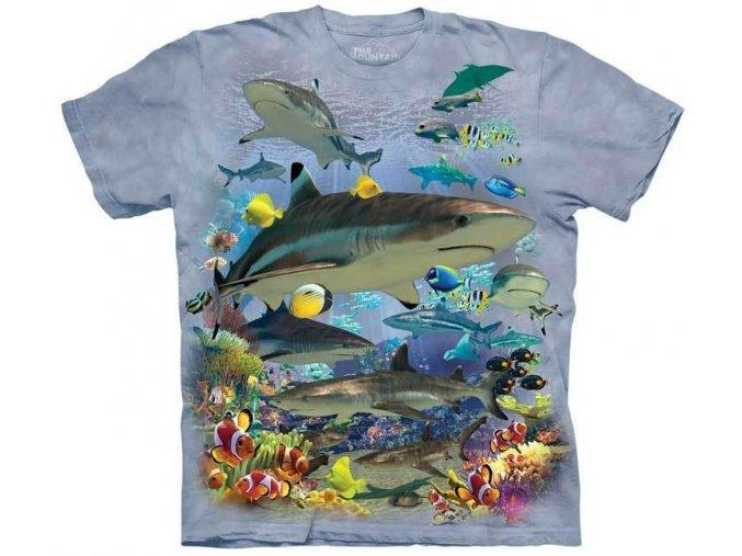 tričko, moře, žralok, potisk, mountain, dětské