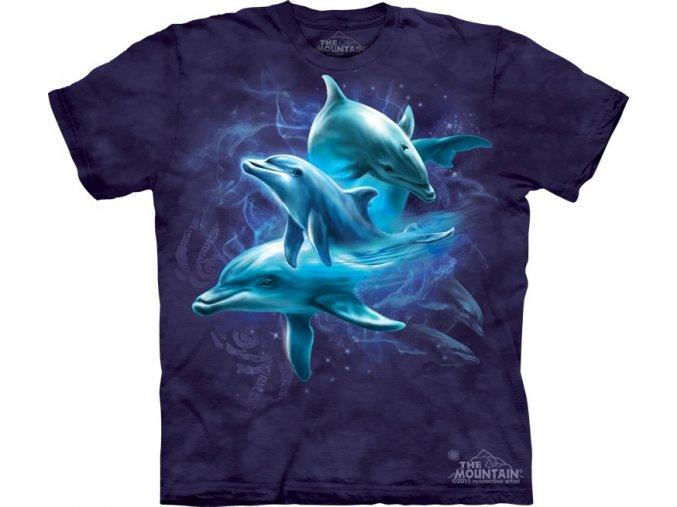 tričko, delfíni, rodinka, potisk, mountain, dětské