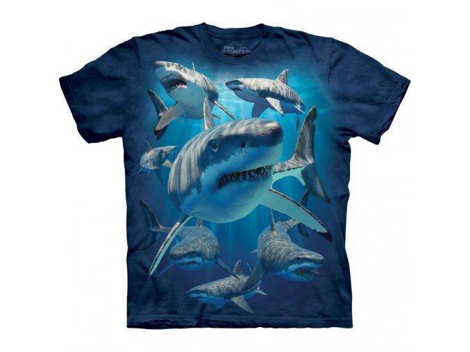 tričko, žralok, dětské, batikované, mountain, potisk