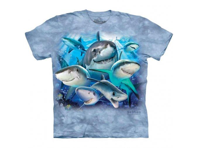 tričko, vtipné, selfie žraloků, potisk, mountain, dětské