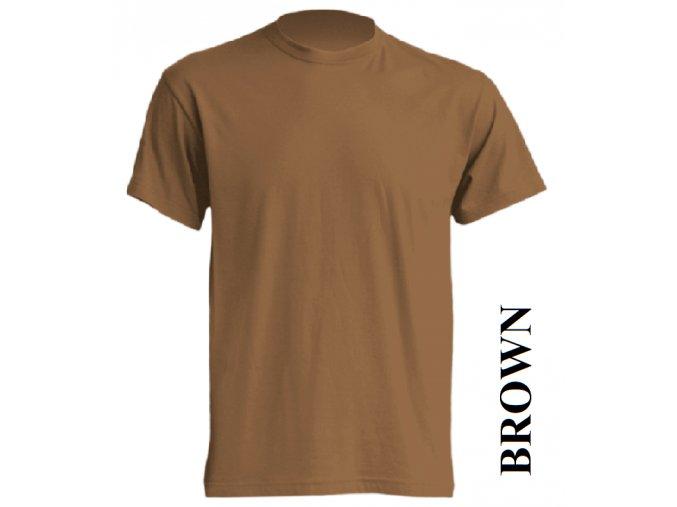 pánské, tričko, jednobarevné, bavlněné, hnědé