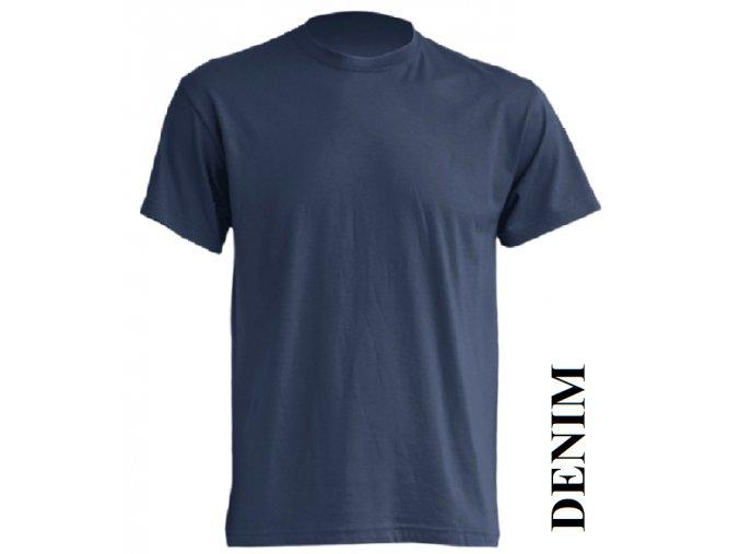 pánské, tričko, jednobarevné, bavlněné, denim