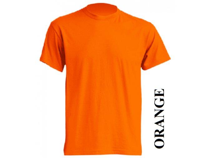pánské, tričko, jednobarevné, bavlněné, oranžové