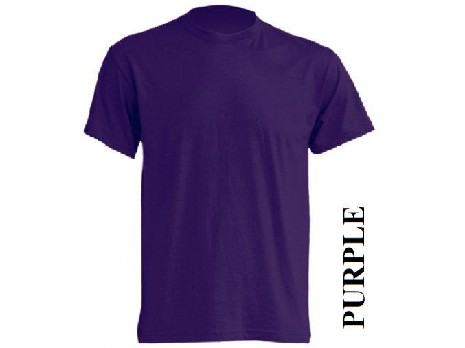 pánské, tričko, jednobarevné, bavlněné, purpurově fialové