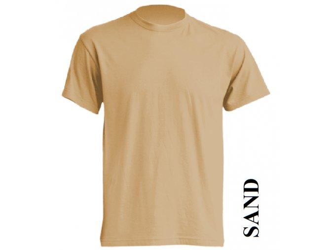 pánské, tričko, jednobarevné, bavlněné, pískově béžové
