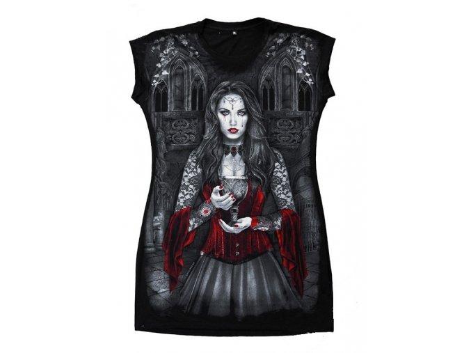 černá tunika, bavlna, potisk, gotika, pohár, dívka