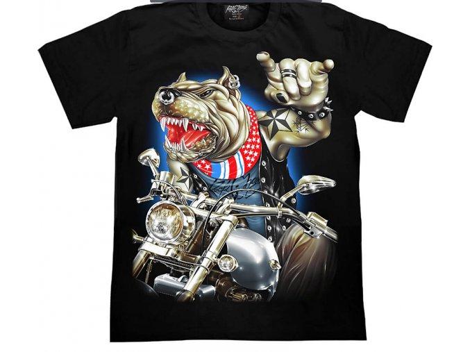 tričko, pes, pitbul, motorka, svítící, fluorescenční potisk