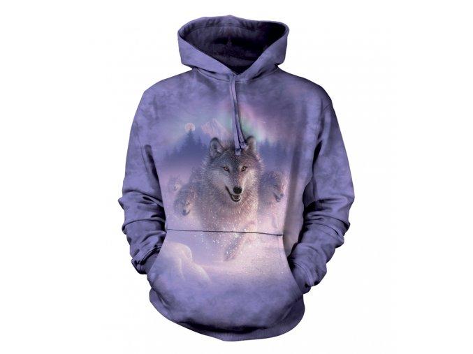mikina, the Mountain, potisk, batikovaná, vlk, polární záře