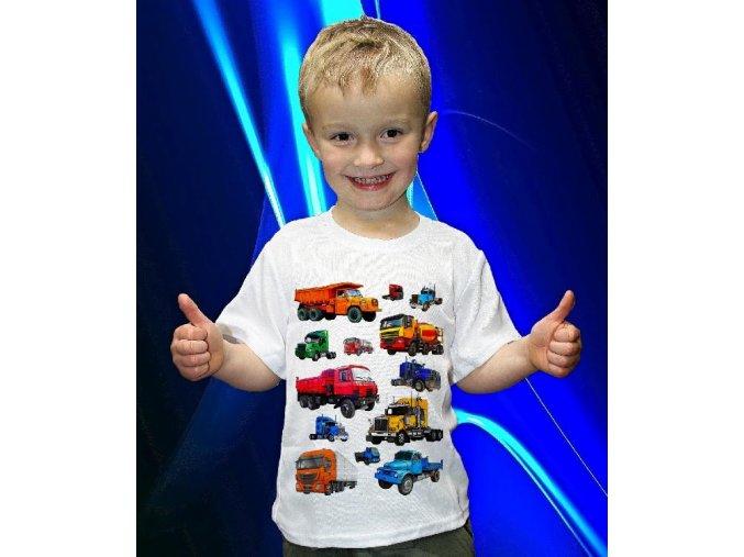 tričko, dětské, pánské, potisk, nákladní auta, kamiony