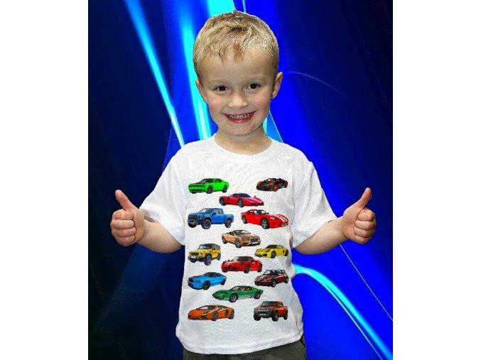 tričko, dětské, pánské, potisk, sportovní auta