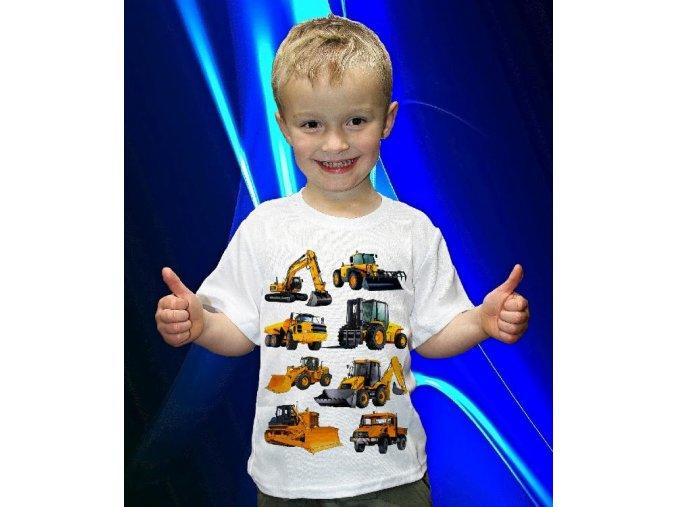 tričko, dětské, pánské, potisk, bagr, buldozer