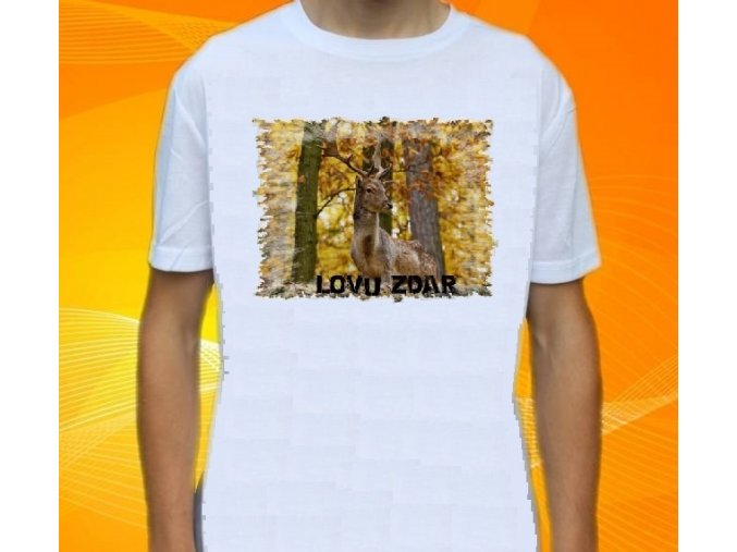 tričko, dětské, pánské, potisk, myslivec, daněk