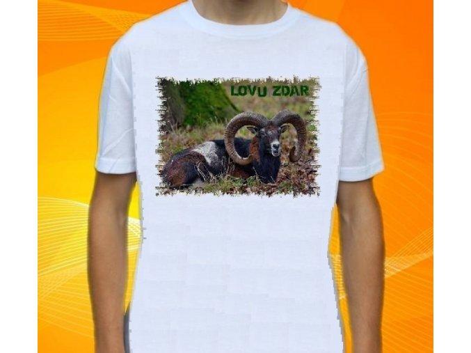 tričko, dětské, pánské, potisk, myslivec, muflon