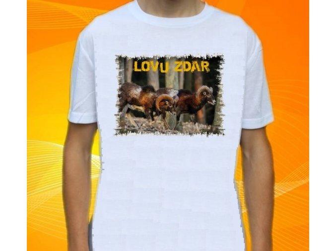 tričko, dětské, pánské, potisk, myslivec, mufloni