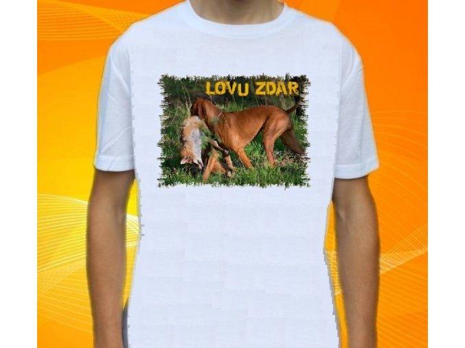 tričko, dětské, pánské, potisk, myslivec, pes, liška