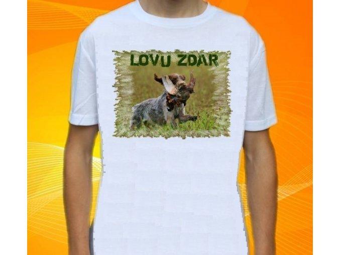 tričko, dětské, pánské, potisk, myslivec, lovecký pes