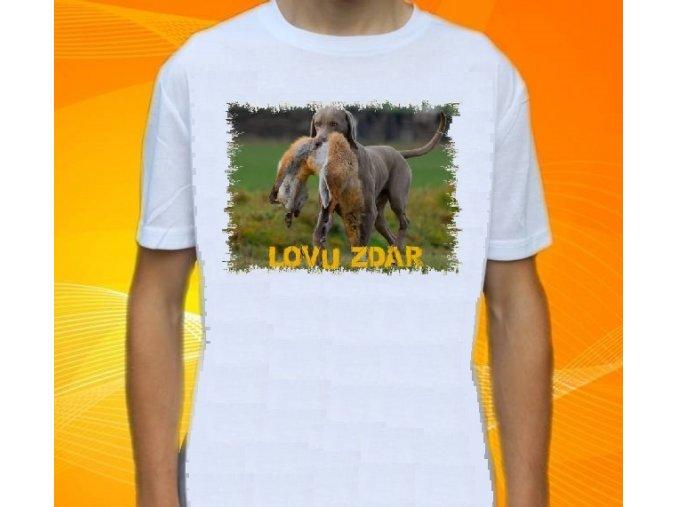 tričko, dětské, pánské, potisk, myslivec, lovecký pes, liška