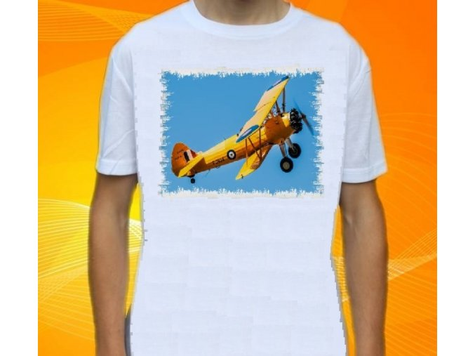 tričko, dětské, pánské, potisk, letadlo, dvouplošník