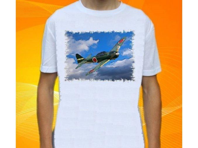 tričko, dětské, pánské, potisk, letadlo, stihačka Zero