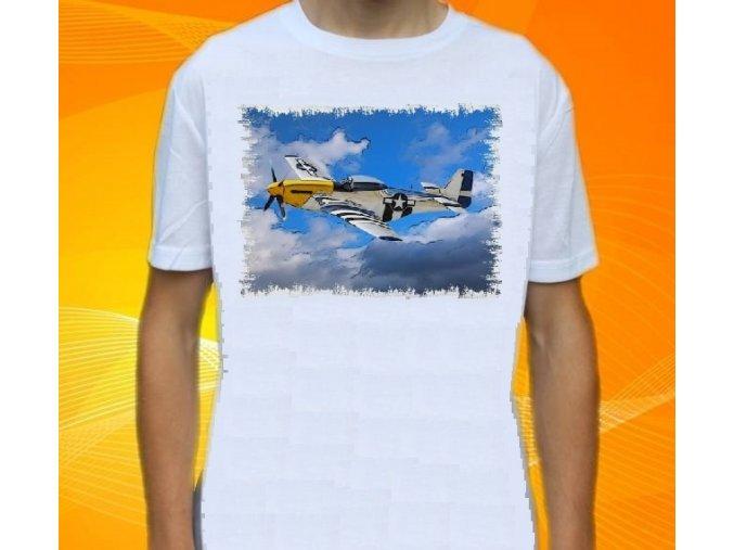 tričko, dětské, pánské, potisk, letadlo, Mustang
