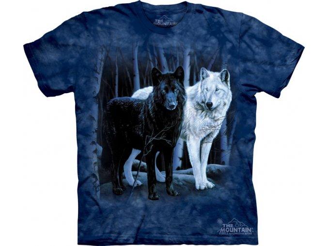 Tričko, černý vlk, bílý vlk, mountain, potisk, batikované