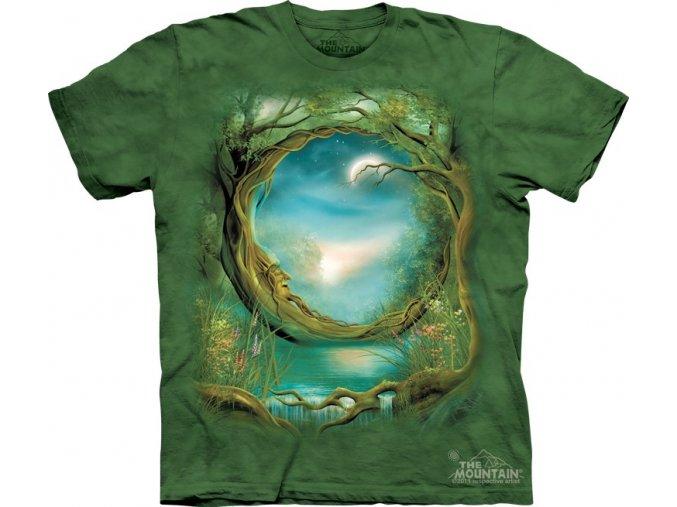 Tričko, keltské, strom, potisk, batikované, měsíc