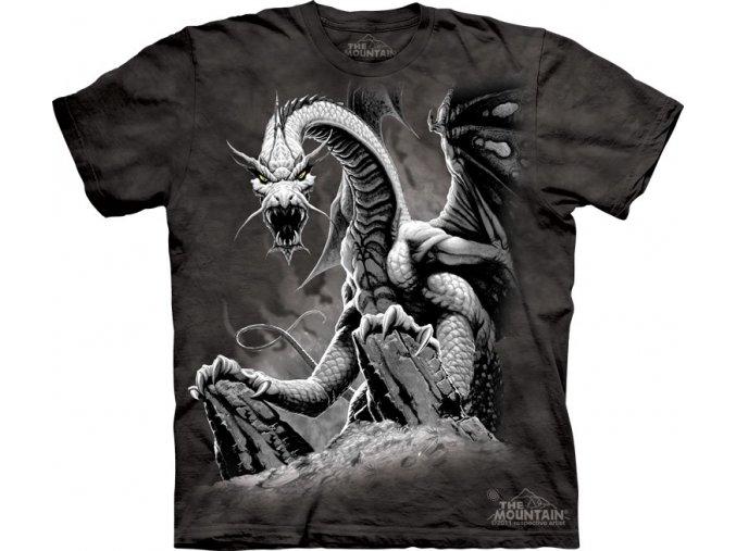 Tričko, černý drak, mountain, potisk, batikované, černé