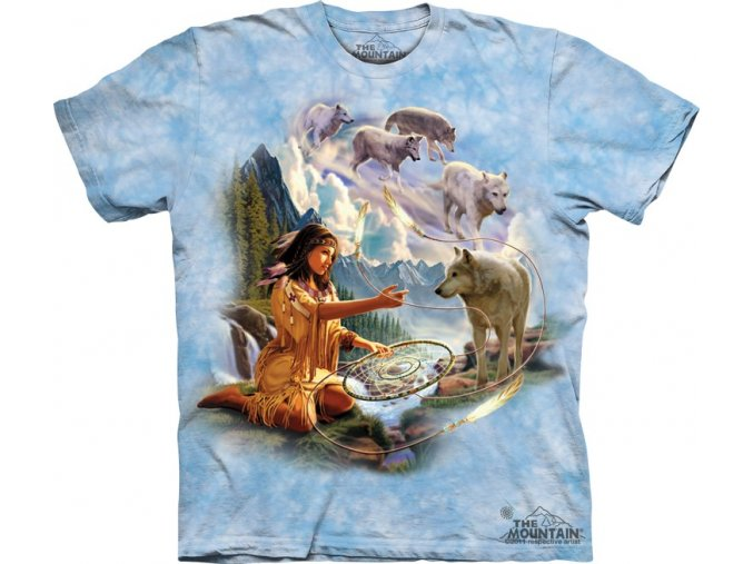 tričko, vlk, indiánské, batikované, potisk, dívka