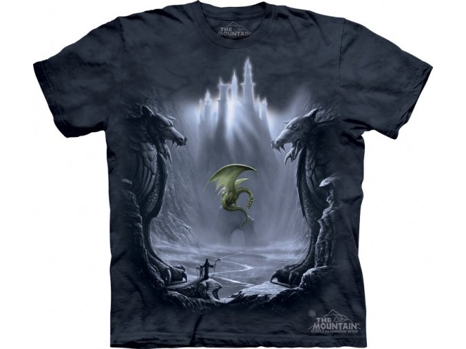 Tričko, drak, hrad, potisk, batikované