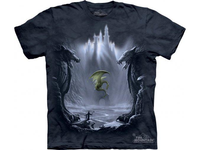 battikovane tricko potisk drak hrad