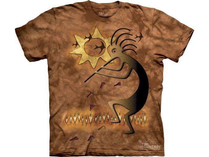 tričko, indiánské, glyf kresba, batikované,  potisk, mountain