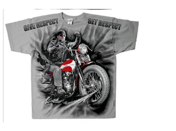 tričko s motorkou a jezdcem respekt