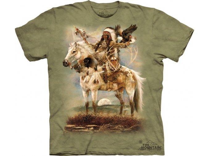 tričko, indiánské, náčelník, batikované, potisk, válečník