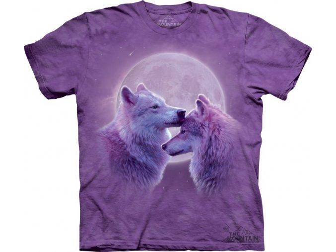 tričko, vlci, fialové, batikované, potisk, láska