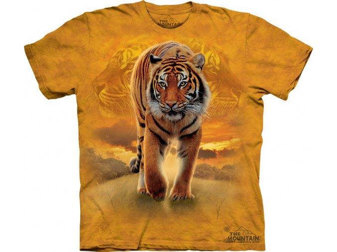 tričko, tygr, západ slunce, batikované, potisk, mountain